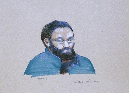 An artist's sketch shows Chiheb Esseghaier making his first court appearance, in Montreal, April 23, 2013.   REUTERS/Atalante