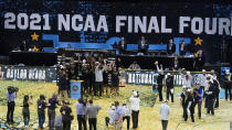 Baylor players and coaches celebrate after the championship game against Gonzaga in the men's Final Four NCAA college basketball tournament, Monday, April 5, 2021, at Lucas Oil Stadium in Indianapolis. Baylor won 86-70. (AP Photo/Darron Cummings)