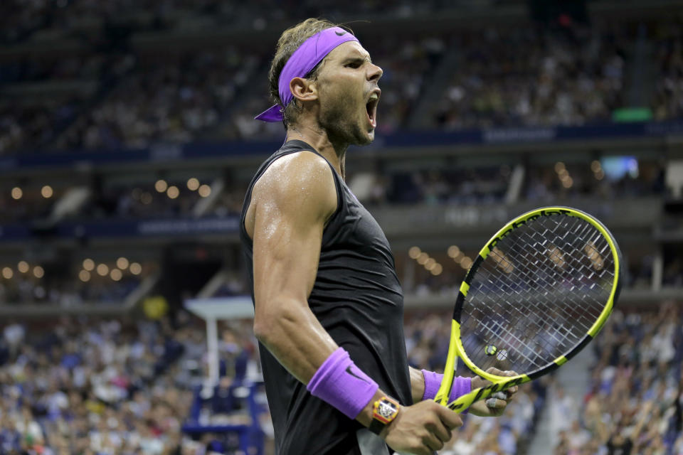Rafael Nadal, of Spain, reacts after winning a point against Marin Cilic, of Croatia, during the fourth round of the U.S. Open tennis tournament, Monday, Sept. 2, 2019, in New York. (AP Photo/Seth Wenig)
