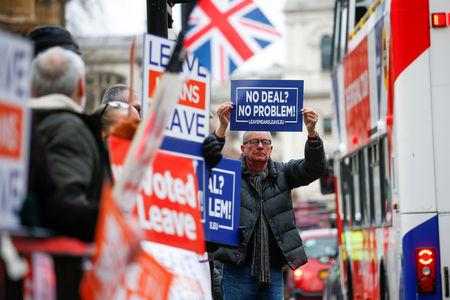 Pro-Brexit demonstrators hold signs outside the Houses of Parliament in London, Britain January 9, 2019. REUTERS/Henry Nicholls