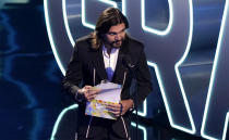 Juanes speaks at the 21st Latin Grammy Awards, airing on Thursday, Nov. 19, 2020, at American Airlines Arena in Miami. (AP Photo/Marta Lavandier)