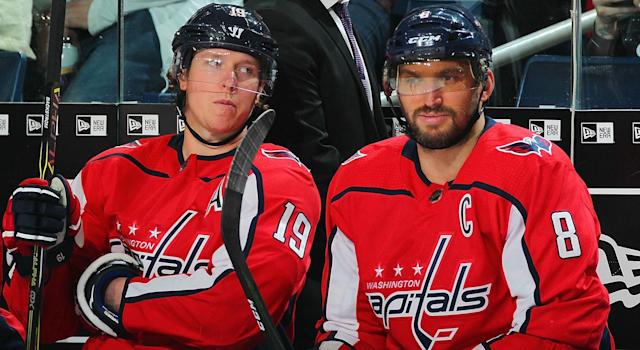 """<a class=""""link rapid-noclick-resp"""" href=""""/nhl/players/3982/"""" data-ylk=""""slk:Nicklas Backstrom"""">Nicklas Backstrom</a> and <a class=""""link rapid-noclick-resp"""" href=""""/nhl/players/3637/"""" data-ylk=""""slk:Alex Ovechkin"""">Alex Ovechkin</a> haven't had much luck in Game 7s over their careers. (Photo by Bill Wippert/NHLI via Getty Images)"""