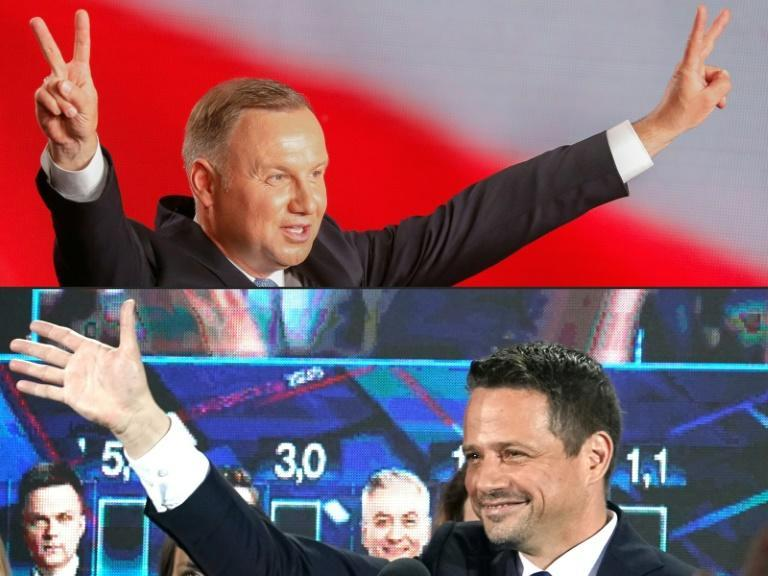 Polish President Andrzej Duda (top) and his challenger Rafal Trzaskowski will contest a run-off vote next month