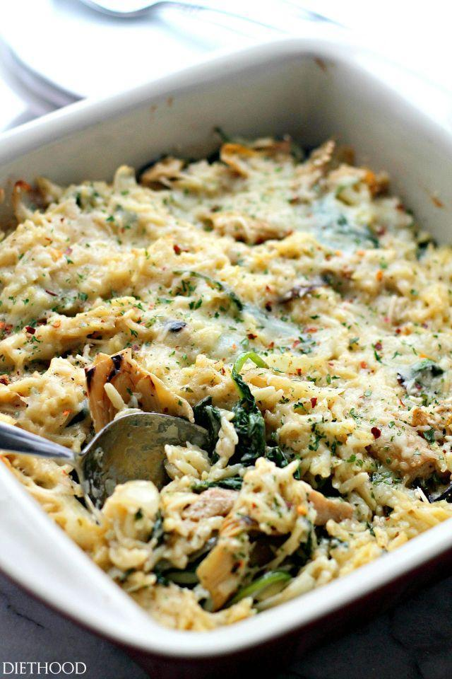 "<p>You don't have to give up pasta—just make a lighter alfredo sauce and throw in lots of veggies.</p><p>Get the recipe from <a href=""http://diethood.com/spinach-artichoke-pasta-alfredo-casserole/"" rel=""nofollow noopener"" target=""_blank"" data-ylk=""slk:Diethood"" class=""link rapid-noclick-resp"">Diethood</a>.</p>"