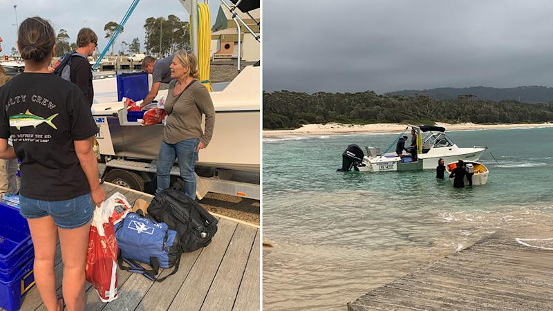 Sandy Betts was able to organise a private boat to drop off supplies. Source: Supplied - Sandy Betts.