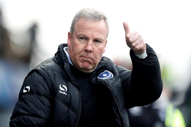 "Soccer Football - League One - Portsmouth vs Wigan Athletic - Fratton Park, Portsmouth, Britain - April 2, 2018 Portsmouth manager Kenny Jackett Action Images/Matthew Childs EDITORIAL USE ONLY. No use with unauthorized audio, video, data, fixture lists, club/league logos or ""live"" services. Online in-match use limited to 75 images, no video emulation. No use in betting, games or single club/league/player publications. Please contact your account representative for further details."