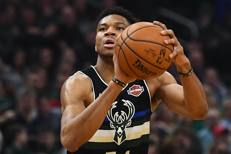 Giannis Antetokounmpo #34 of the Milwaukee Bucks