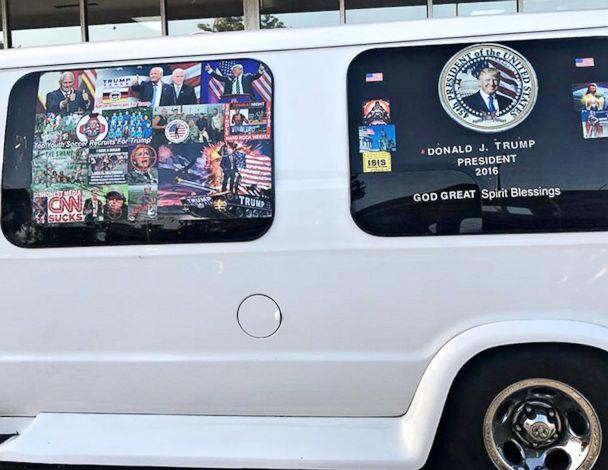 PHOTO: A van with windows covered in pro-Trump and anti-Democrat stickers, which was taken into custody on Oct. 26, 2018, during an investigation into a series of parcel bombs, is seen in Hollywood, Fla. on April 6, 2018.<p>(Geo Rodriguez/Reuters, FILE)