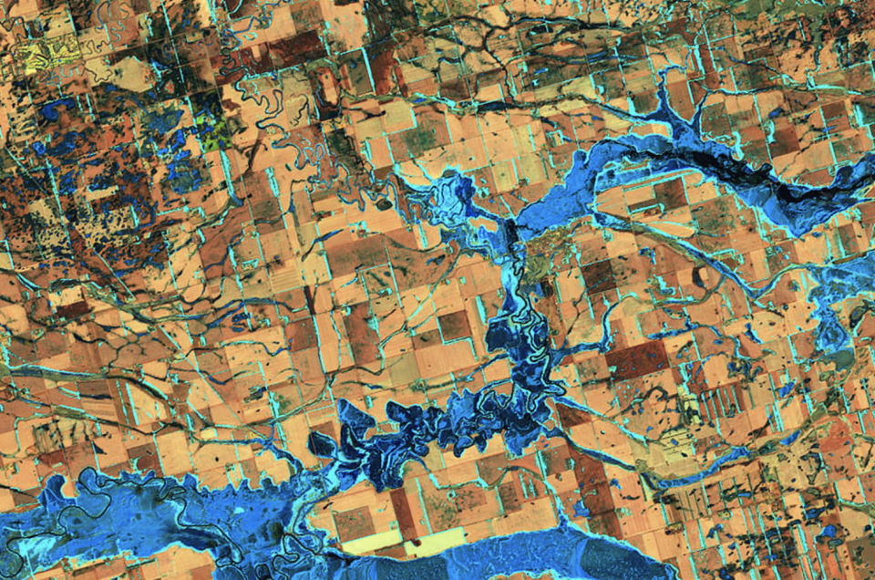 Flooding on the James River in eastern South Dakota last year. (NASA)