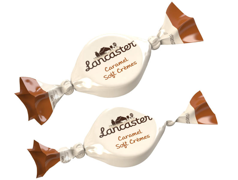 This image provided by Hershey on Wednesday, Oct. 9, 2013 shows the their new Lancaster Caramel Soft Cremes. The company is launching a new candy brand, its first new brand in 30 years, a soft caramel creme line called Lancaster. And for the first time it is taking a double barreled approach, debuting the candy in the U.S. and China at once. (AP Photo/Hershey)