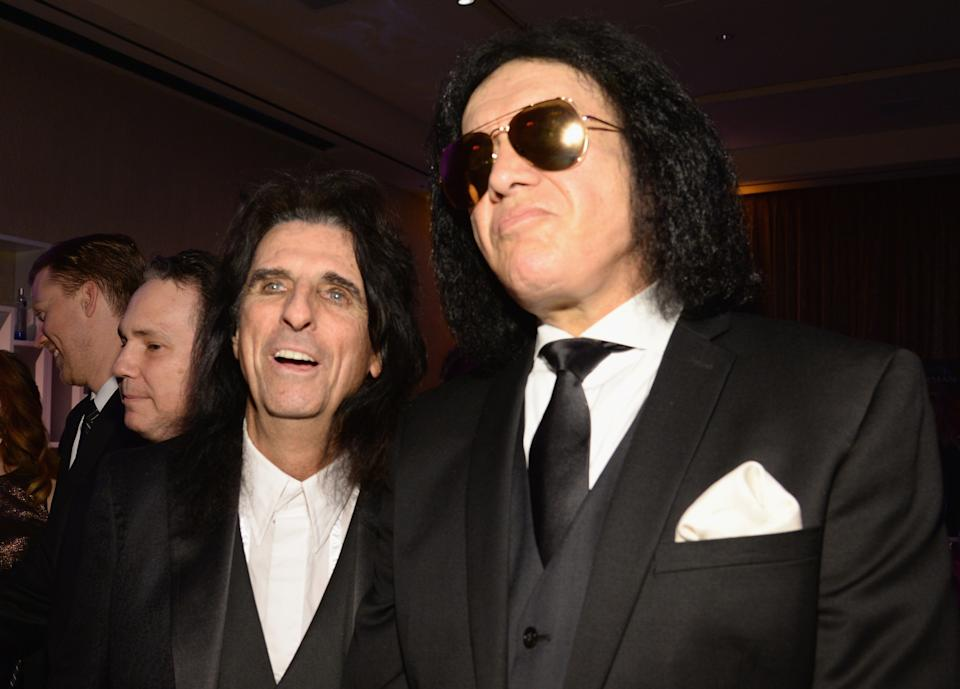 BEVERLY HILLS, CA - FEBRUARY 14:  Alice Cooper and Gene Simmons attend the 2016 Pre-GRAMMY Gala and Salute to Industry Icons honoring Irving Azoff at The Beverly Hilton Hotel on February 14, 2016 in Beverly Hills, California.  (Photo by Kevin Mazur/WireImage)