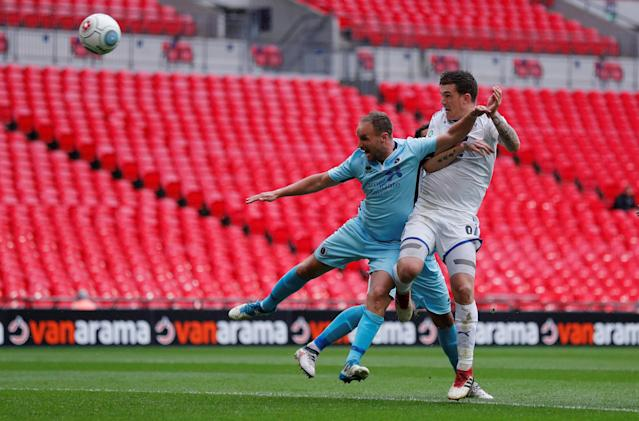 Soccer Football - National League Promotion Final - Tranmere Rovers v Boreham Wood - Wembley Stadium, London, Britain - May 12, 2018 Tranmere Rovers' Andy Cook scores their first goal Action Images/Andrew Couldridge