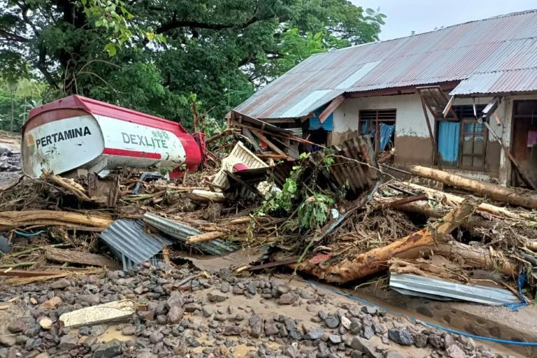 The Indonesian island of Adonara has been devasted by floods and landslides