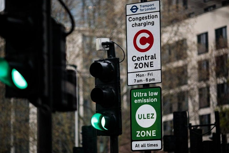 green sign demarcates London's Ultra Low Emissions Zone (Getty Images)