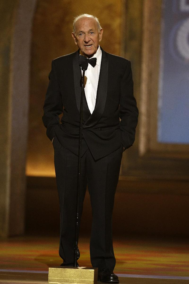 "FILE - In this June 15, 2008 file photo, Jack Klugman speaks at the 62nd Annual Tony Awards in New York. Klugman, who made an art of gruffness in TV's ""The Odd Couple"" and ""Quincy, M.E.,"" has died at the age of 90. (AP Photo/Jeff Christensen, File)"