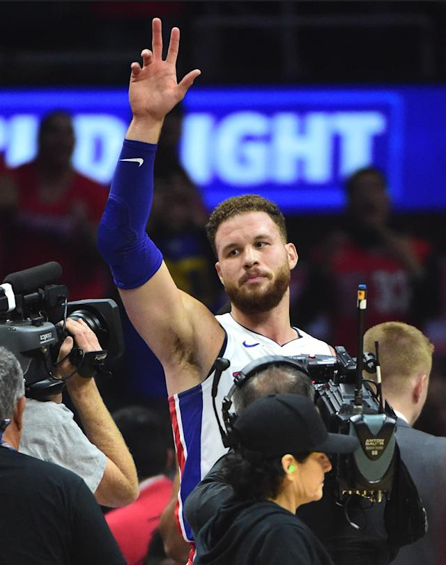 LOS ANGELES, CA - JANUARY 12: Blake Griffin #23 of the Detroit Pistons acknowledges the crowd after a video tribute in the first half of the game against the Los Angeles Clippers at Staples Center on January 12, 2019 in Los Angeles, California. (Photo by Jayne Kamin-Oncea/Getty Images)