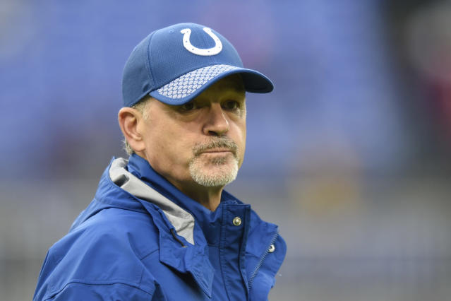 Chuck Pagano is expected to coach his last game with the Colts on Sunday. (AP)