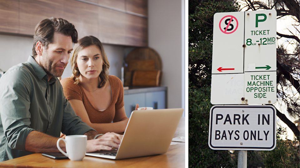 Couple on computer, signs saying parking bay and tickets required.