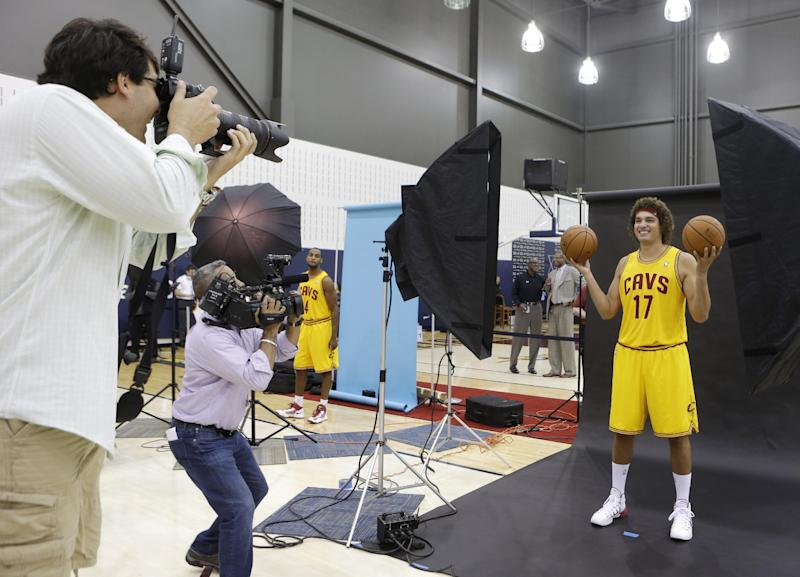 Cleveland Cavaliers' Anderson Varejao, from Brazil, poses for a photograph during the NBA teams media day Monday, Sept. 30, 2013, in Independence, Ohio. (AP Photo/Tony Dejak)