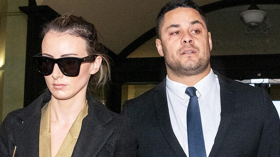 Jarryd Hayne and wife Amellia Bonnici, pictured here leaving the Downing Centre District Court.