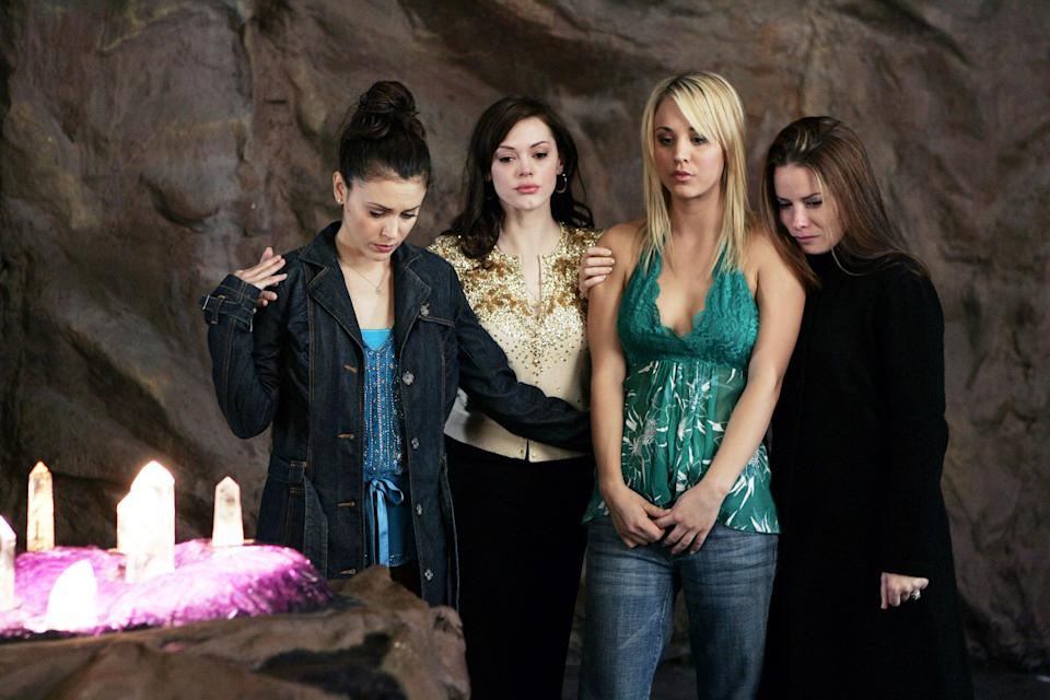 Alyssa Milano, Rose McGowan, Kaley Cuoco and Holly Marie Combs on a 2005 episode of 'Charmed' (Photo: ©Viacom/Courtesy Everett Collection)