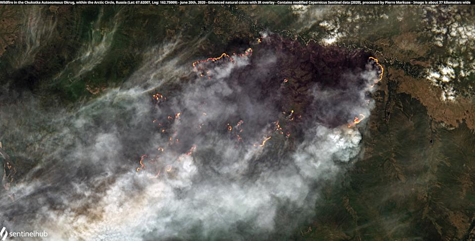 Satellite images show wildfires raging across the Arctic circle