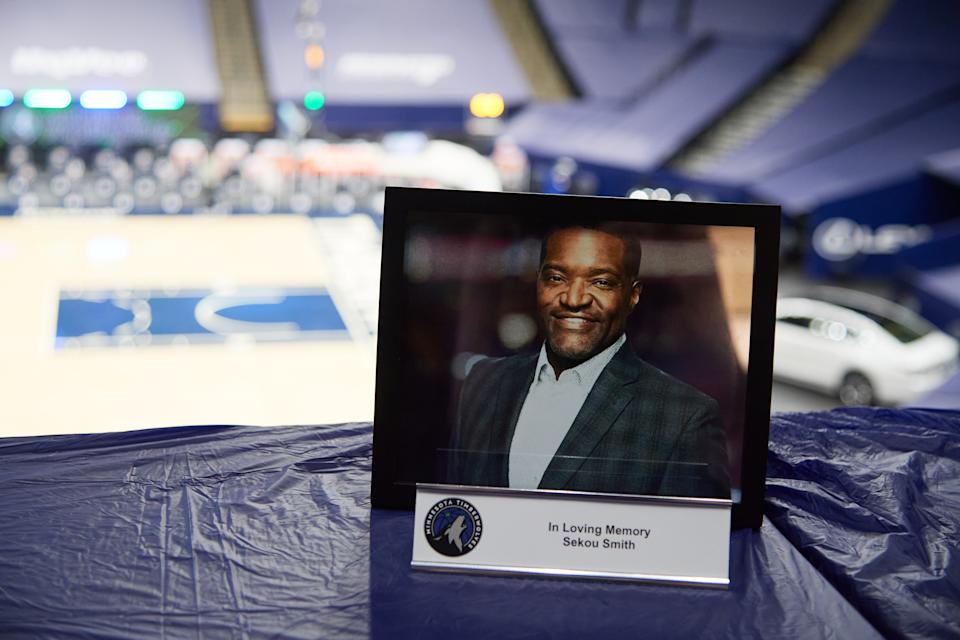 The Minnesota Timberwolves honor the late writer Sekou Smith with a media spot before the game between the Minnesota Timberwolves and the Philadelphia 76ers at Target Center on January 29, 2021 in Minneapolis, Minnesota.
