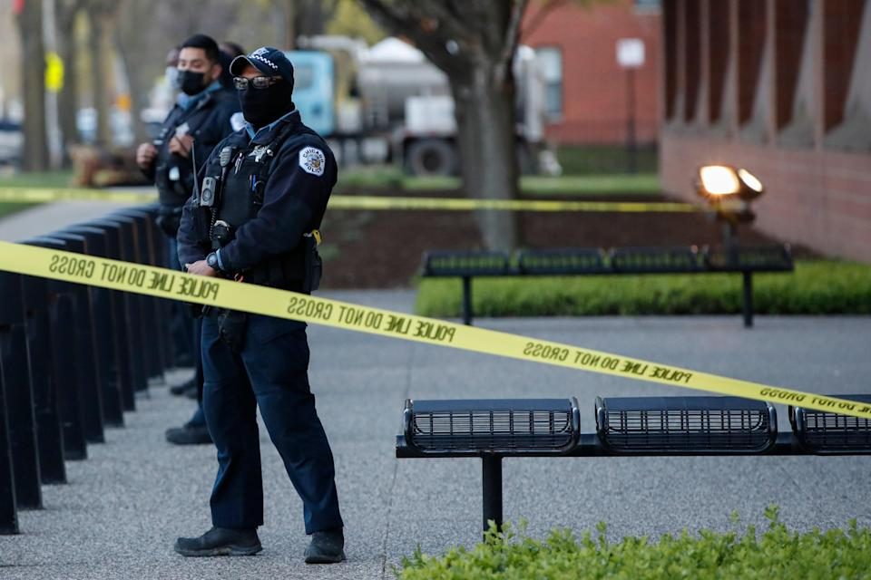<p>Two police officers are hospitalised following a Sunday morning shooting in Chicago </p> (Getty Images)