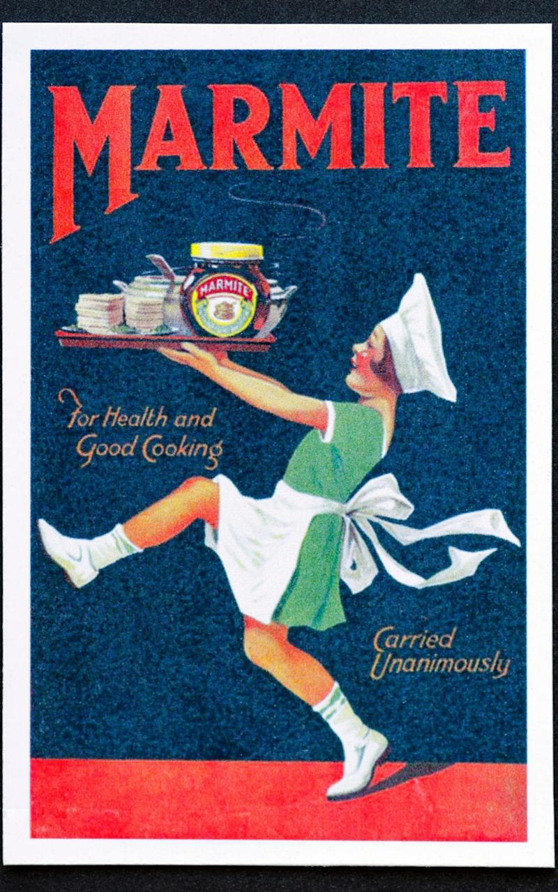 'For health and good cooking': an early poster extolling the virtues of Marmite - Alamy