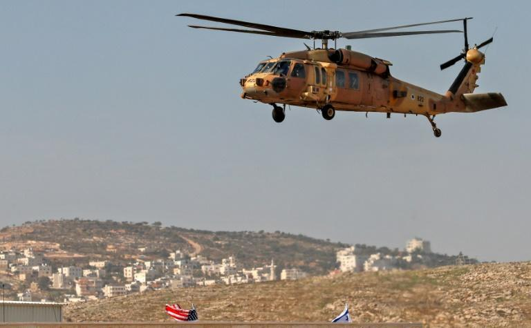 An Israeli airforce Blackhawk helicopter carrying US Secretary of State Mike Pompeo hovers over Psagot Winery in the occupied West Bank
