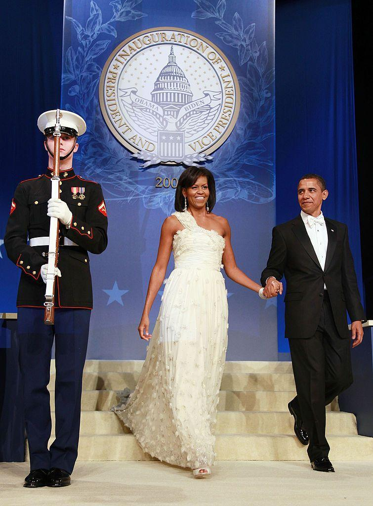 Michelle Obama at the first inaugural ball, where she wore her first Jason Wu gown. (Photo: Getty Images)