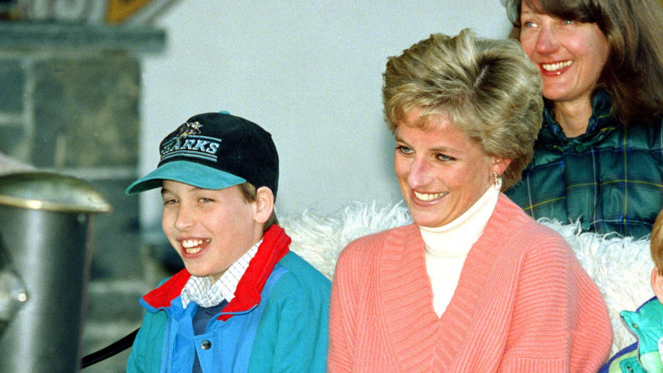Princess Diana and Prince William during a skiing holiday in Austria in 1994. (Photo by Julian Parker/UK Press via Getty Images)