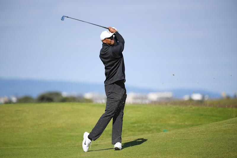 PORTRUSH, NORTHERN IRELAND - JULY 14: Tiger Woods of the United States plays a shot during a practice round prior to the 148th Open Championship held on the Dunluce Links at Royal Portrush Golf Club on July 14, 2019 in Portrush, United Kingdom. (Photo by Jan Kruger/R&A/R&A via Getty Images)