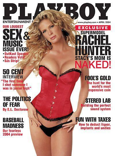 <p><strong>Issue: </strong>April 2004</p><p>Stacy's Mom herself, Rachel Hunter, wore a classic red teddy for her April 2004 cover. </p>