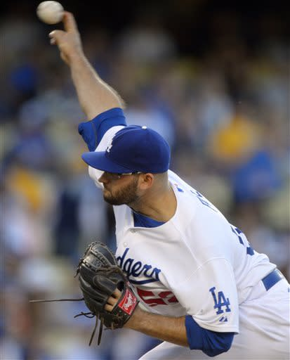 Los Angeles Dodgers starting pitcher Stephen Fife throws to the plate during the first inning of a baseball game against the San Francisco Giants, Tuesday, June 25, 2013, in Los Angeles. (AP Photo/Mark J. Terrill)