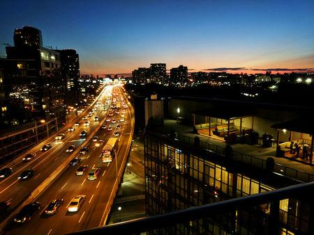 Condo buildings line both sides of Gardiner Expressway in downtown Toronto