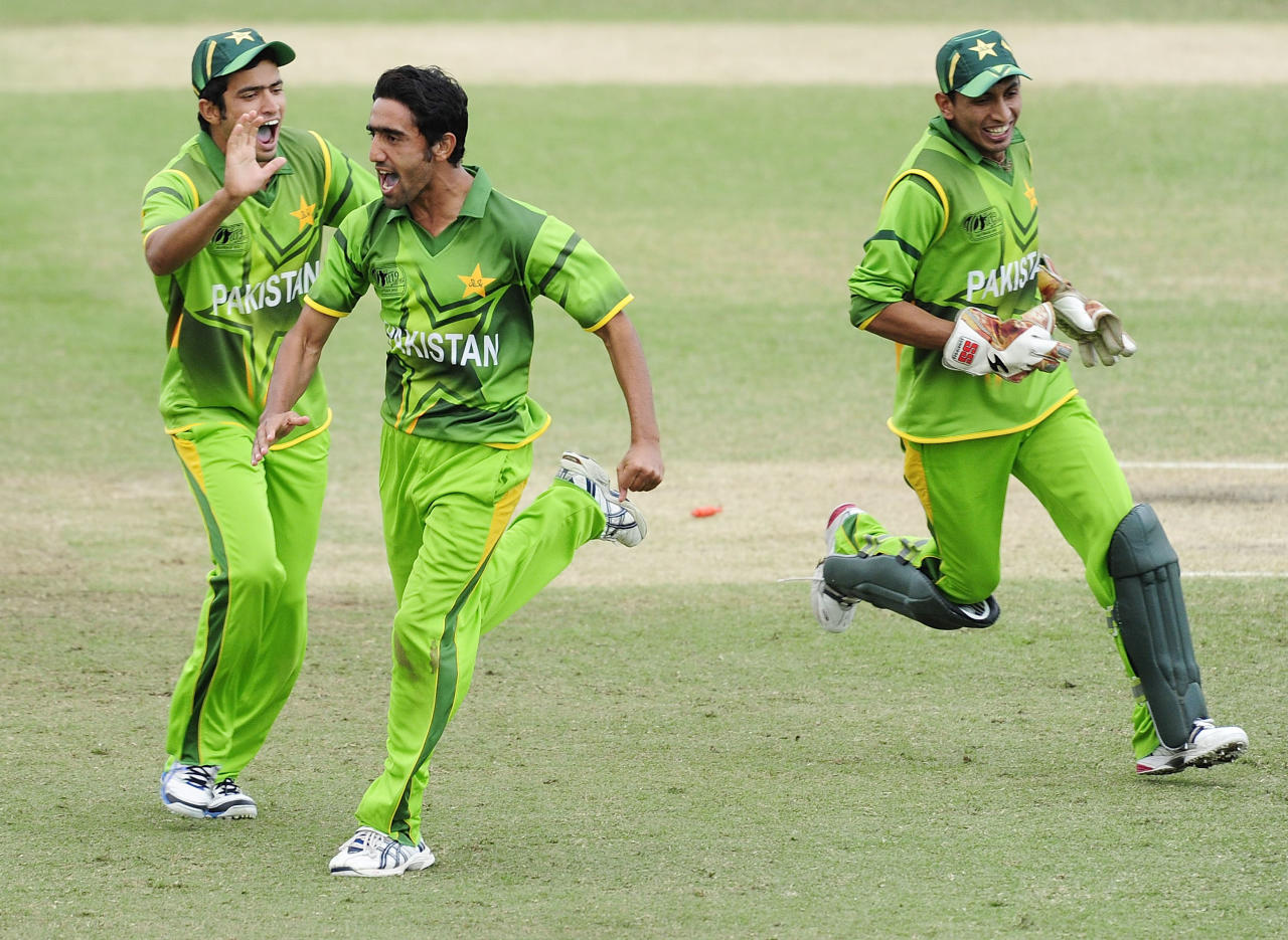 TOWNSVILLE, AUSTRALIA - AUGUST 20:  Azizullah (c) of Pakistan celebrates the wicket of Ravikant Singh of India during the ICC U19 Cricket World Cup 2012 Quarter Final match between India and Pakistan at Tony Ireland Stadium on August 20, 2012 in Townsville, Australia.  (Photo by Ian Hitchcock-ICC/Getty Images)