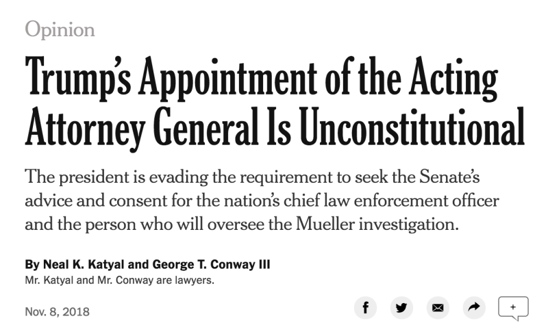 The op-ed written by Neal K. Katyal and George Conway. (The New York Times)