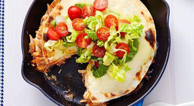"<p>Yum. We're all about this brilliant dish, which is basically a double-decker quesadilla loaded with chicken and ooey, cheesy goodness. Talk about a fiesta in your mouth!</p><p><em><em><em><a href=""https://www.goodhousekeeping.com/food-recipes/a15977/triple-decker-tortilla-pie-recipe-ghk1114"" rel=""nofollow noopener"" target=""_blank"" data-ylk=""slk:Get the recipe for Triple Decker Tortilla Pie »"" class=""link rapid-noclick-resp"">Get the recipe for Triple Decker Tortilla Pie »</a></em></em></em></p>"