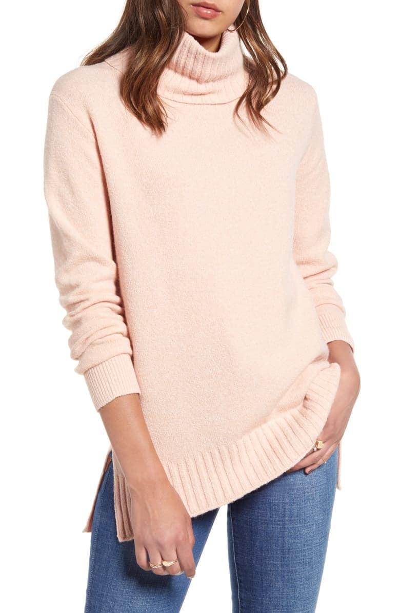 <p>They'll always wear this <span>BP. Longline Turtleneck Sweater</span> ($39).</p>