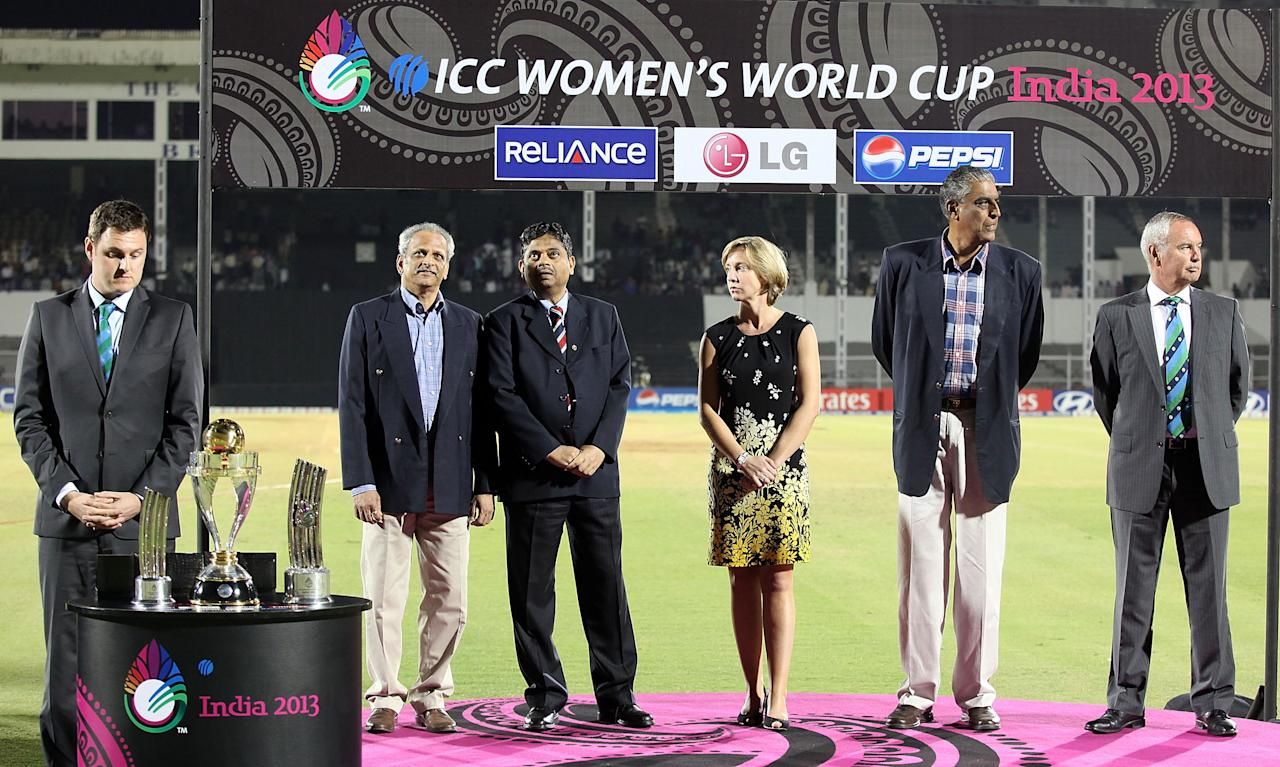 MUMBAI, INDIA - FEBRUARY 17:  The official party (from left) David Thornley, Suru Nayak , Tournament Director ICC Womens World Cup, Professor Ratnakar Shetty, General Manager Games Development BCCI, Clare Connor, Chair of the ICC Womens Committee, Sanjay Jagdale, honorary secretary of BCCI and Alan Issac , President of the ICC on the dais  after the final between Australia and West Indies of the Women's World Cup India 2013 played at the Cricket Club of India ground on February 17, 2013 in Mumbai, India. (Photo by Graham Crouch/ICC via Getty Images)