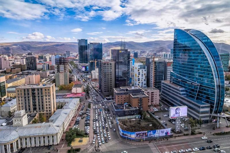 An aerial view of Mongolia's capital city pictured.