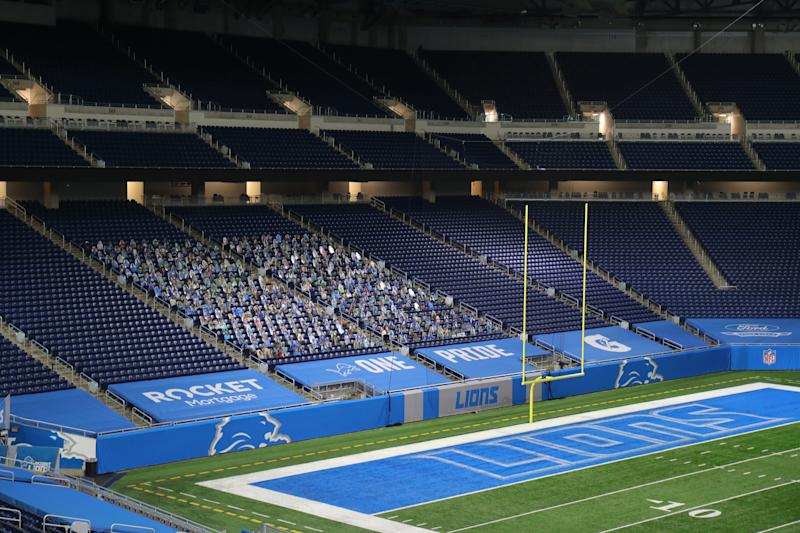 The WJR-AM broadcast crew covered the Detroit Lions game against the Green Bay Packers from an empty Ford Field on Sunday, Sept. 20, 2020. The broadcast team was in Detroit while the game was played in Green Bay.