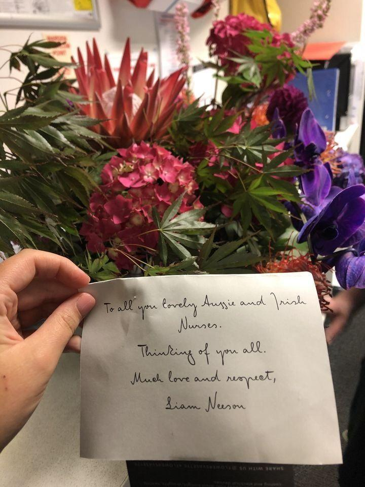This heartfelt card from the actor made these Melbourne hospital workers' day. Photo: Facebook