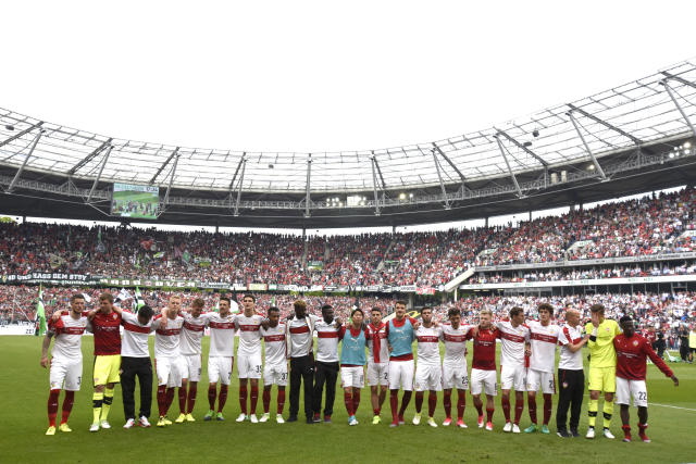 Soccer Football - Hannover 96 v VfB Stuttgart - 2. Bundesliga - HDI-Arena, Hannover, Germany - 14/5/17 Stuttgart players celebrate after the match Reuters / Fabian Bimmer Livepic DFL RULES TO LIMIT THE ONLINE USAGE DURING MATCH TIME TO 15 PICTURES PER GAME. IMAGE SEQUENCES TO SIMULATE VIDEO IS NOT ALLOWED AT ANY TIME. FOR FURTHER QUERIES PLEASE CONTACT DFL DIRECTLY AT + 49 69 650050.