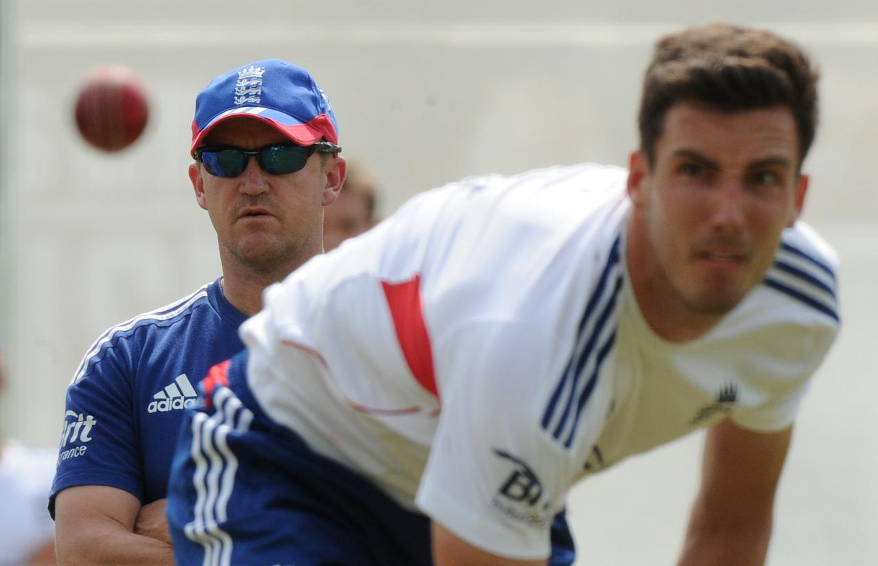 England head coach Andy Flower (left) watches Steven Finn bowl during the nets session at Lord's Cricket Ground, London.