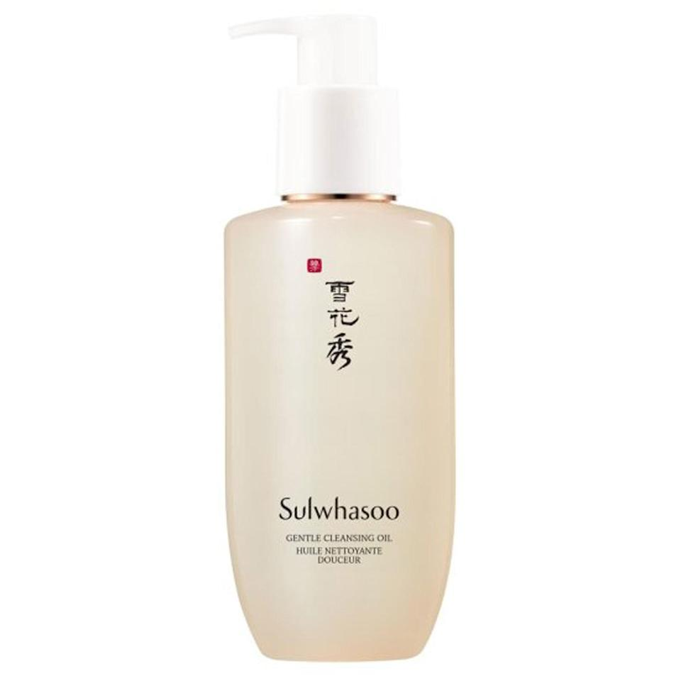 """<p>It looks fancy, it feels fancy, and it even <em>sounds</em> fancy, thanks to key ingredients such as <em>Coix lacryma-jobi</em> seed and tangerine peel extract. That's because Sulwhasoo's Gentle Cleansing Oil is, in fact, fancy — with a <a href=""""https://www.allure.com/gallery/best-of-beauty-skin-care-product-winners?mbid=synd_yahoo_rss"""" rel=""""nofollow noopener"""" target=""""_blank"""" data-ylk=""""slk:Best of Beauty award"""" class=""""link rapid-noclick-resp"""">Best of Beauty award</a> proving it's not just all looks. """"It has a light, pleasant, ginseng-y smell,"""" says Massachusetts dermatologist Papri Sarkar. """"It always gets all of my makeup off and never dries out my skin.""""</p> <p><strong>$40</strong> (<a href=""""https://shop-links.co/1689628304501332623"""" rel=""""nofollow noopener"""" target=""""_blank"""" data-ylk=""""slk:Shop Now"""" class=""""link rapid-noclick-resp"""">Shop Now</a>)</p>"""