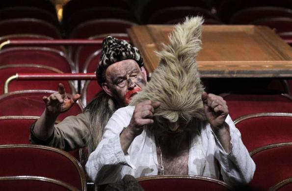 Actors Ignaz Kirchner (L) and Joachim Meyerhoff perform on stage during a dress rehearsal of Daniel Defoe's 'Robinson Crusoe' at Burgtheater in Vienna, April 17, 2012.