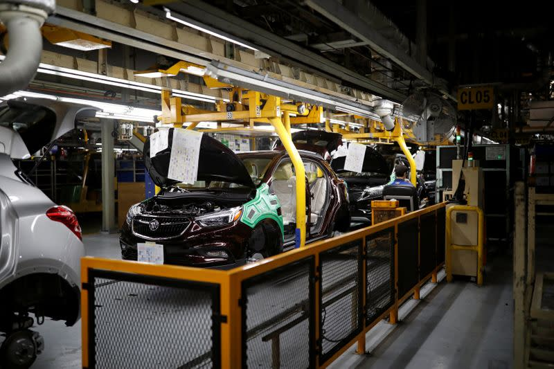 Vehicles are assembled at an assembly line of GM Korea's Bupyeong plant in Incheon