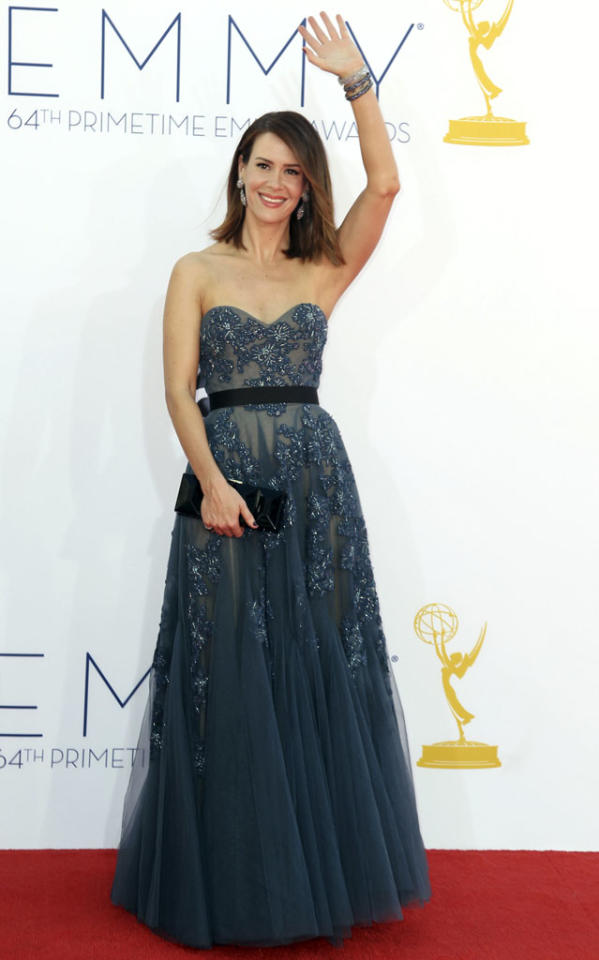 Sarah Paulson arrives at the 64th Primetime Emmy Awards at the Nokia Theatre in Los Angeles on September 23, 2012.